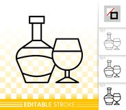 Bottle simple black line wine glass vector icon. Bottle and glass thin line icon. Outline wine sing. Alcohol Drink linear pictogram with different stroke width stock illustration