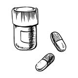Bottle sketch with pills and capsules Stock Images