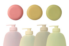 Bottle and soap-dish with soap Royalty Free Stock Photo