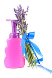 Bottle of soap and lavender Royalty Free Stock Photos