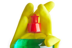 Bottle of soap and yellow gloves Stock Photography