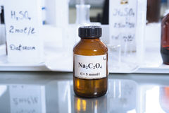 Bottle with sodium oxalate Stock Photography