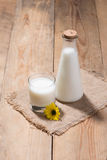 A bottle of soy milk or soya milk and soy beans on wooden table. Stock Photo