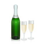 Bottle of sparkling wine with two glasses Stock Photos