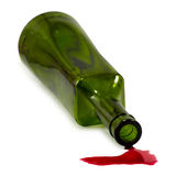 Bottle and spilled wine Stock Photos
