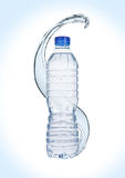 Bottle of still healthy water with splashes Royalty Free Stock Photos