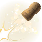 Bottle stopper. Stopper from a champagne bottle in flight. vector Royalty Free Stock Images