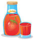 A bottle of strawberry juice. Illustration of a bottle of strawberry juice on a white background Royalty Free Illustration