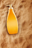 Bottle of Sunbath oil or sunscreen Stock Photo