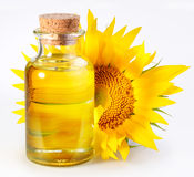 Bottle with sunflower Stock Photo