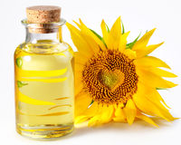 Bottle with sunflower oil Royalty Free Stock Images