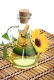 Bottle of sunflower oil. With flower on a white background Royalty Free Stock Photo