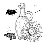 Bottle of sunflower oil with flower and heap of seed. Vector Hand drawn illustration. Glass pitcher Stock Photo