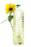 Bottle of sunflower oil with flower isolated on white Stock Image