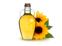 Bottle of sunflower oil with flower. Royalty Free Stock Images