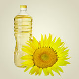 Bottle of sunflower oil  and seed Royalty Free Stock Photo