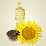 Bottle of sunflower oil and seed Royalty Free Stock Photography