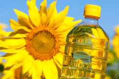 Bottle of sunflowers oil Stock Photography