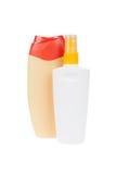 Bottle with suntan cream and shampoo bottle, isolated Stock Photos