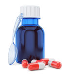 Bottle of syrup and pills Royalty Free Stock Photography