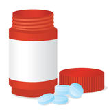 Bottle and tablets. Vector illustration Royalty Free Stock Photo