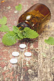 Bottle with tablets and herbal on wooden table Stock Photography
