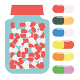 Bottle for tablets, packaging for tablets, container for pills, colored pills.  stock illustration