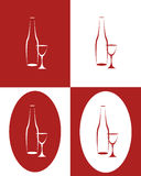 Bottle and tall wine glass. On a white background Stock Images