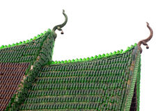 Bottle temple roof. Buddhist temple roof made of empty glass bottle isolated on white, thailand royalty free stock photos