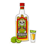 A bottle of tequila with lime. Vector illustration on a white background, painted by hand Stock Photos