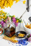 Bottle of tincture or potion, mortar, healthy herbs and scales on table. Royalty Free Stock Photo