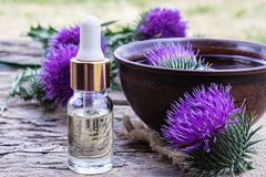 A bottle of tincture or potion`s essential oil and flowers of thistle on a wooden background stock photo