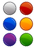 Bottle Tops. A set of six glossy bottle top icons in various colors Royalty Free Stock Image