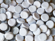 Bottle tops. Blank white beer bottle tops Stock Photo