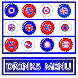 Bottle tops Fourth July Drinks menu. Drinks menu template of Stars & Stripes bottle caps. USA Fourth of July emblems. Background and caps on separate layers to Royalty Free Stock Image