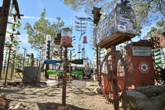 Oro Grande, California, USA, April 17, 2017: Bottle Tree Ranch view on historical route 66. Bottle Tree Ranch view on historical route 66, USA stock photography