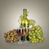 Bottle, two glass of wine and ripe grapes Stock Images