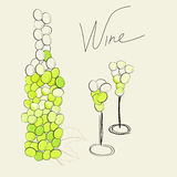 Bottle and two glasses. Universal template for greeting card, web page, background Stock Photos