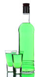Bottle and two glasses of absinthe Stock Photography