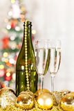 Bottle and two glasses of champagne Royalty Free Stock Photo