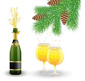 Bottle, two glasses with champagne and branch of christmas tree Royalty Free Stock Photo