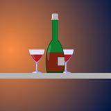 Bottle and two glasses. On the gradient background Stock Photos