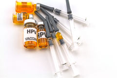 Bottle vaccine of Human papillomavirus (HPV) vaccine and disposa Stock Photo