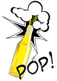 Bottle. Vector illustration of opening bottle in pop art style. Can be used as beer, cider, lemonade advertisement Royalty Free Stock Photo