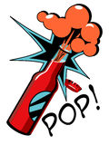 Bottle. Vector illustration of opening bottle in pop art style. Solid fill only Stock Image