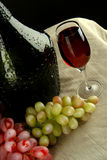 Bottle  vine with glass and grapes Stock Image