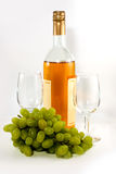 Bottle of vine and grape Stock Images
