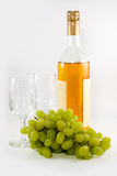 Bottle of vine and grape Stock Photography