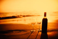 Bottle of vine with two glass Stock Image