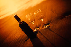 Bottle of vine with two glass Stock Photography